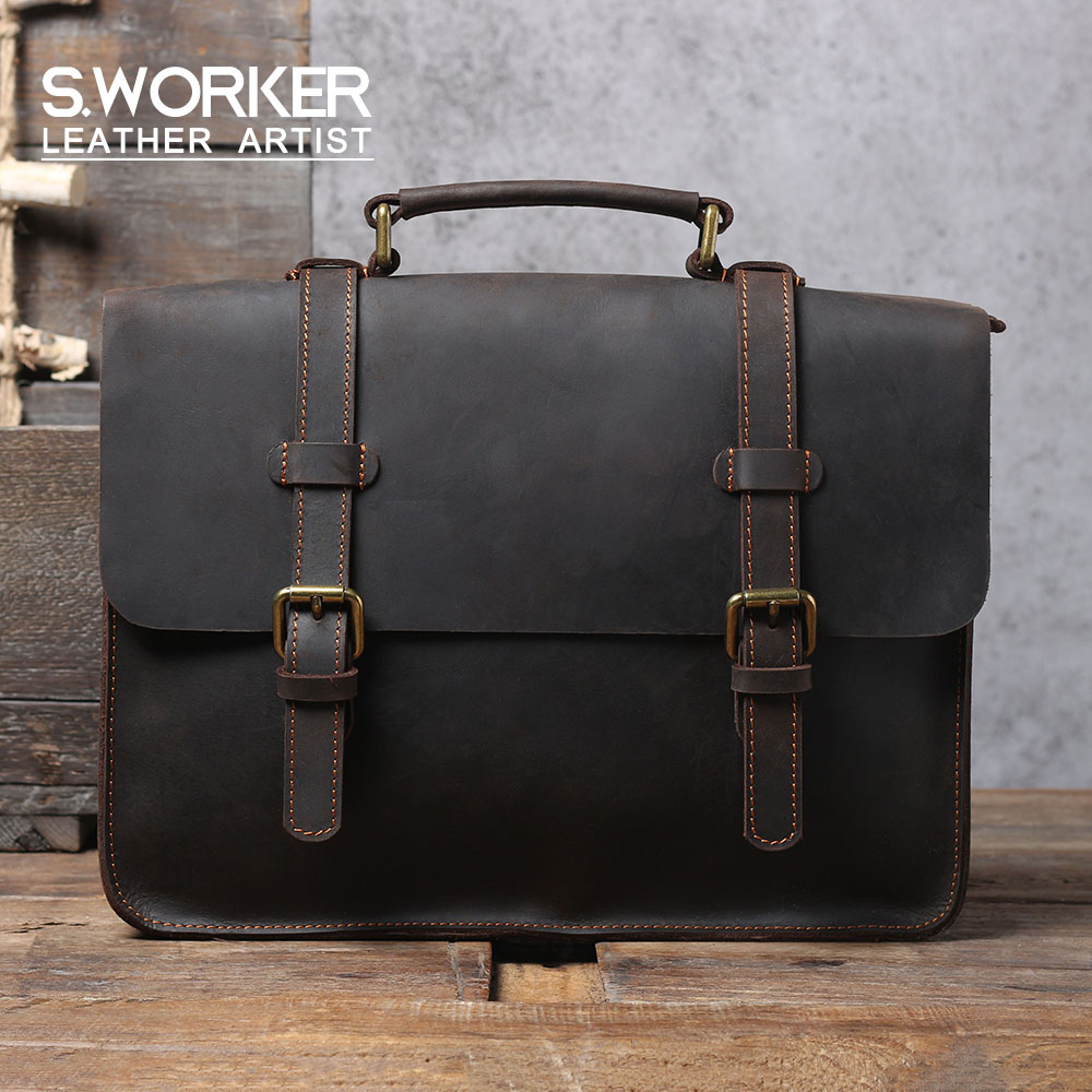 S.WORKE Vintage Genuine Leather Backpack Laptop Briefcase Men's Shoulder Bag Crazy-horse Cowhide Leather School Tote Bag Women