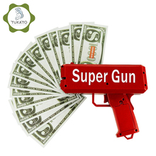 TUKATO Make It Rain Money Gun Red Cash Cannon Super Gun Toys 100PCS Bills Party Game Outdoor Fun Fashion Gift Pistol Toys