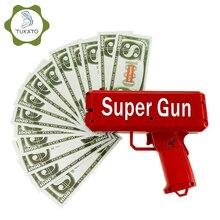 TUKATO sprawiają, że deszcz pieniądze pistolet czerwony Cash Cannon Super Gun zabawki 100 sztuk rachunki Party gry zabawy na świeżym powietrzu moda prezent pistolet zabawki