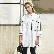 LANMREM 2020 nuevo negro blanco Hit Color Turn Down Batwing tipo media manga Camisa larga suelta Casual moda Mujer Tops YE12600