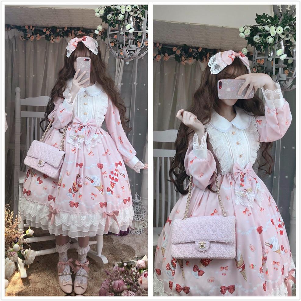 Kawaii fraise Desserts imprimer femmes Lolita dentelle arcs princesse OP robe automne poupée col à manches longues fête robe fantaisie