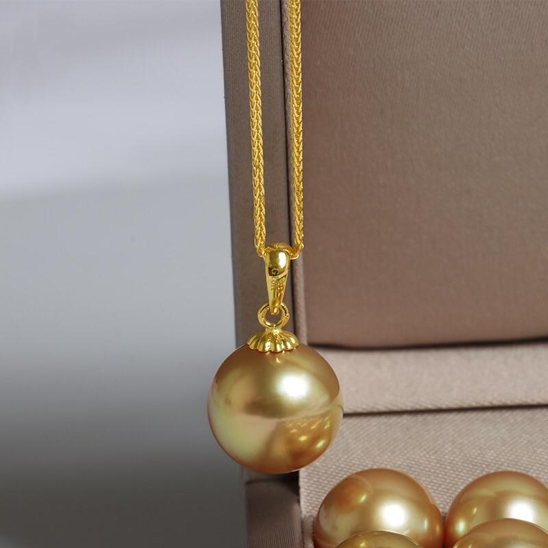Joyería de oro amarillo sólido de 18K (AU750) para mujer, collar, Gargantilla, cadena, colgante de Nanyang Jinzhu, agua de mar, perla del Mar del Sur, mujer