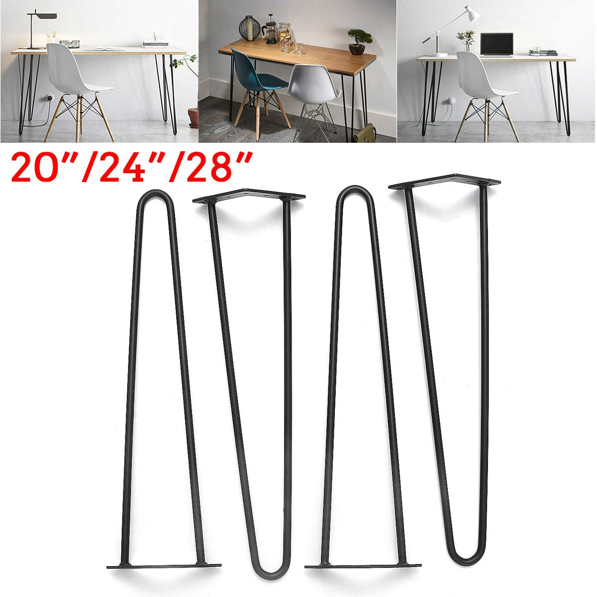 4Pcs/lot 20-28inch Metal Hairpin Table Desk Leg Solid Iron Wire Support Leg For Sofa Cabinet Chairs DIY Handcrafts Furniture Leg