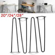 4Pcs/lot 20-28inch Metal Hairpin Table Desk Leg Solid Iron Wire Support Leg for Sofa Cabinet Chairs DIY Handcrafts Furniture Leg(China)