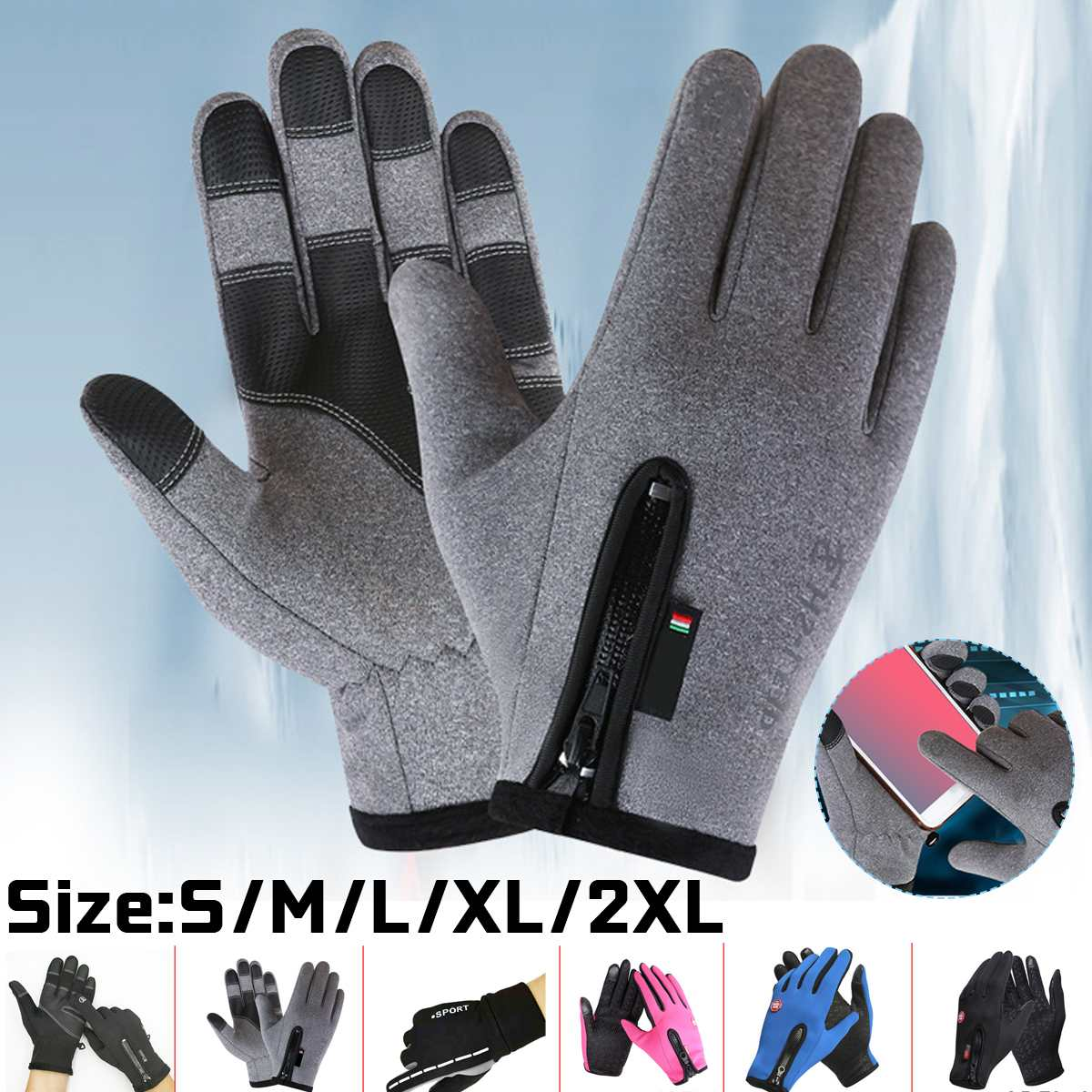 Heated Waterproof Winter Gloves Fluff Warm Gloves Touch Screen Reflective Anti Slip Sport Riding Cycling Skiing Gloves Unisex
