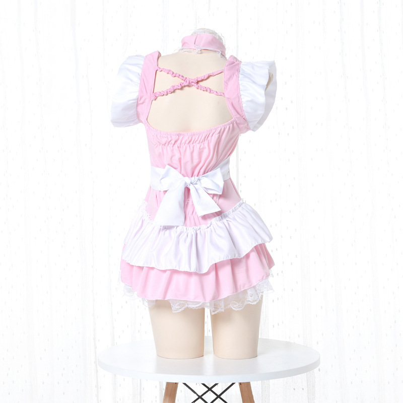Costume de serveuse Lolita rose pour femmes, tablier Kawaii, robe, uniforme, jeu de rôle érotique, Lingerie Sexy 3
