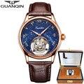 Guanqin Tourbillon механические часы для мужчин Скелет 100% оригинальный бренд 2019 Роскошные Водонепроницаемые кожаные часы Relogio Masculino