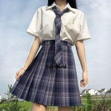 Pleated-Skirts School-Uniform Dress JK Students-Cloths Plaid Girl's Women Summer Xia