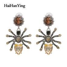 Новинка бутиковые серьги в виде паука с кристаллами насекомых