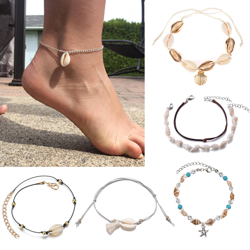 Fashion Bohemian Shell Pendant Rope Chain Handmade Anklets For Women Adjustable Multilayer Foot Leg Boho Ankle Bracelet