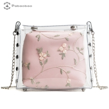 Pabaobao Jelly Bags for women 2019 Women Handbag Transparent PVC Chain Bag Waterproof Messenger Shoulder Gifts Dropship