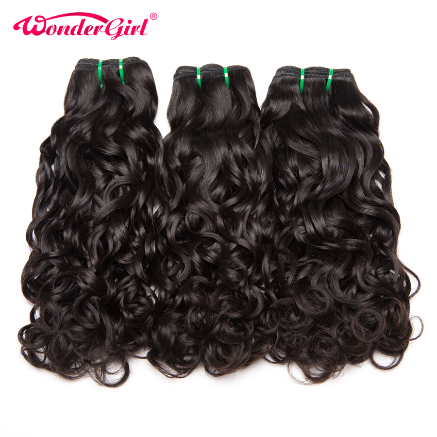3 Bundles Water Wave Brazilian Hair Weave Bundles Natural Color Human Hair Bundles Remy Hair Extensions No Tangle Wonder Girl