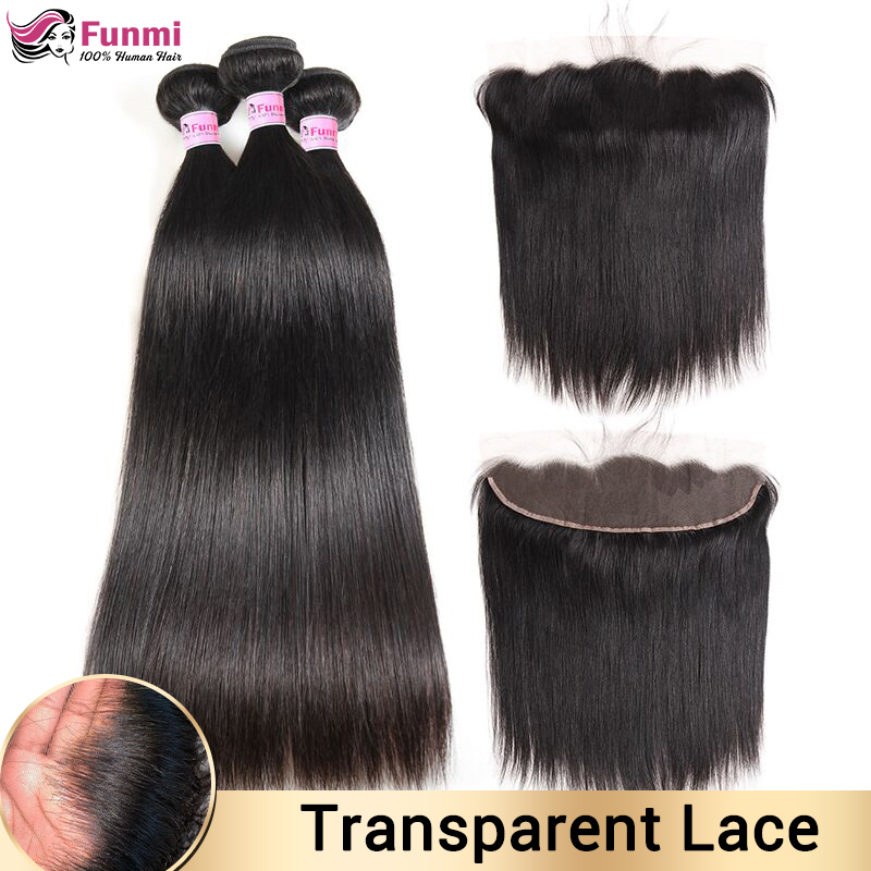 Transparent Lace Frontal With Bundles Malaysian Straight Hair Bundles With Frontal Human Hair Bundles With Frontal Non-Remy