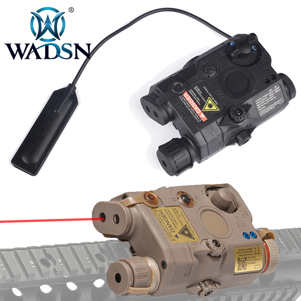 WADSN PEQ-15 LA5 White LED Tactical Flashlight+Red Dot Laser+IR Lenses Hunting Rifle Airsoft Battery Box WEX276 Weapon Lights