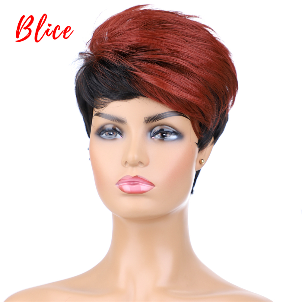Blice Synthetic Hair Mix Color Wigs Short Natural Wavy For Black Women Free Shipping Heat Resistant Kanekalon Wig 1B/BUG