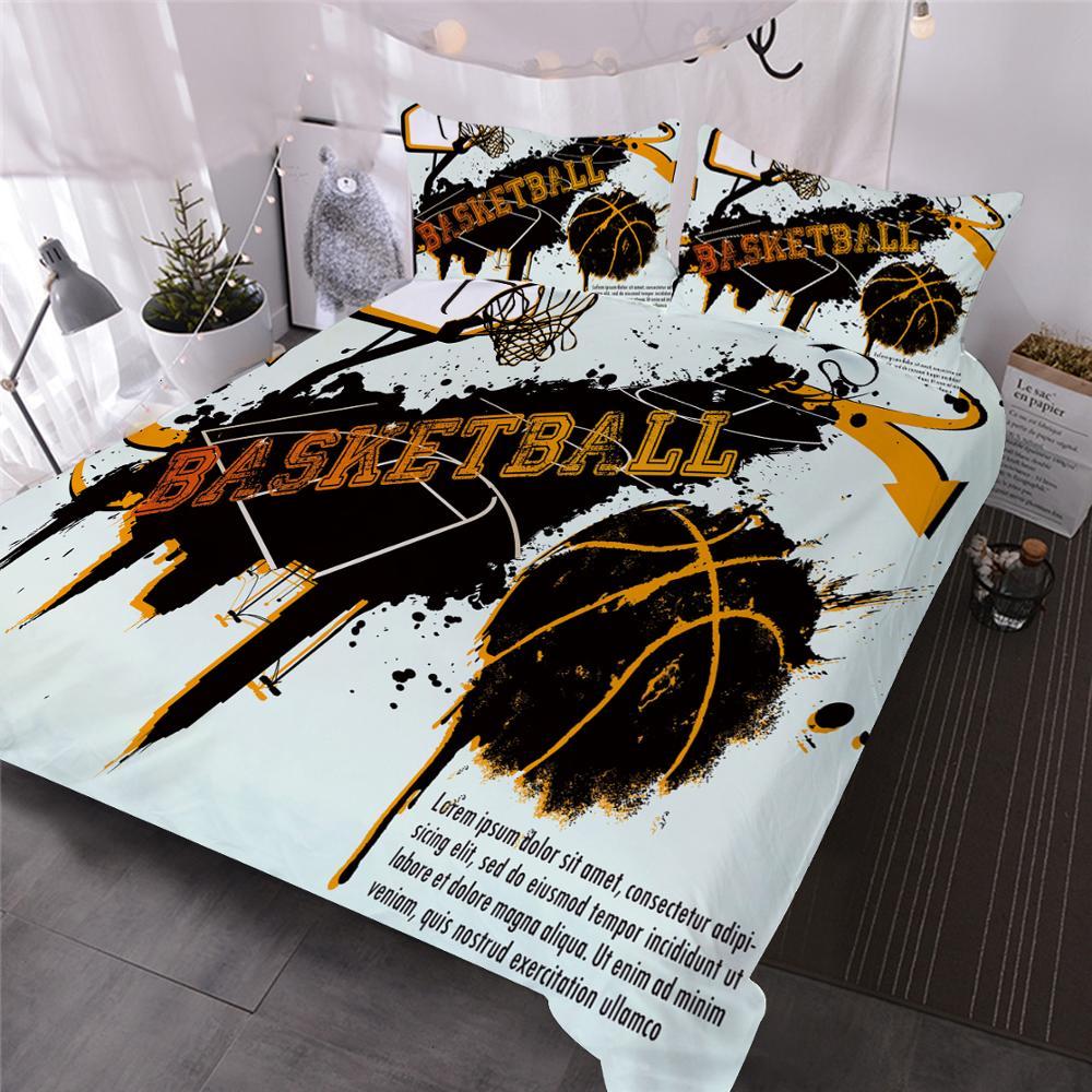 Basketball Bedding Set Children's Black Duvet Cover Sheets 3D Shooting Basketball Bedding Sports Star Pillowcase Quilt Cover