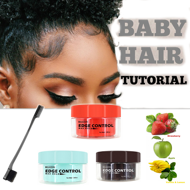 Baby Hair Super Sleek Max Hold Hair Edge Control Cream Gel Long Lasting Waterproof Hair Oil Wax Black Girls Hairstyle 80ml