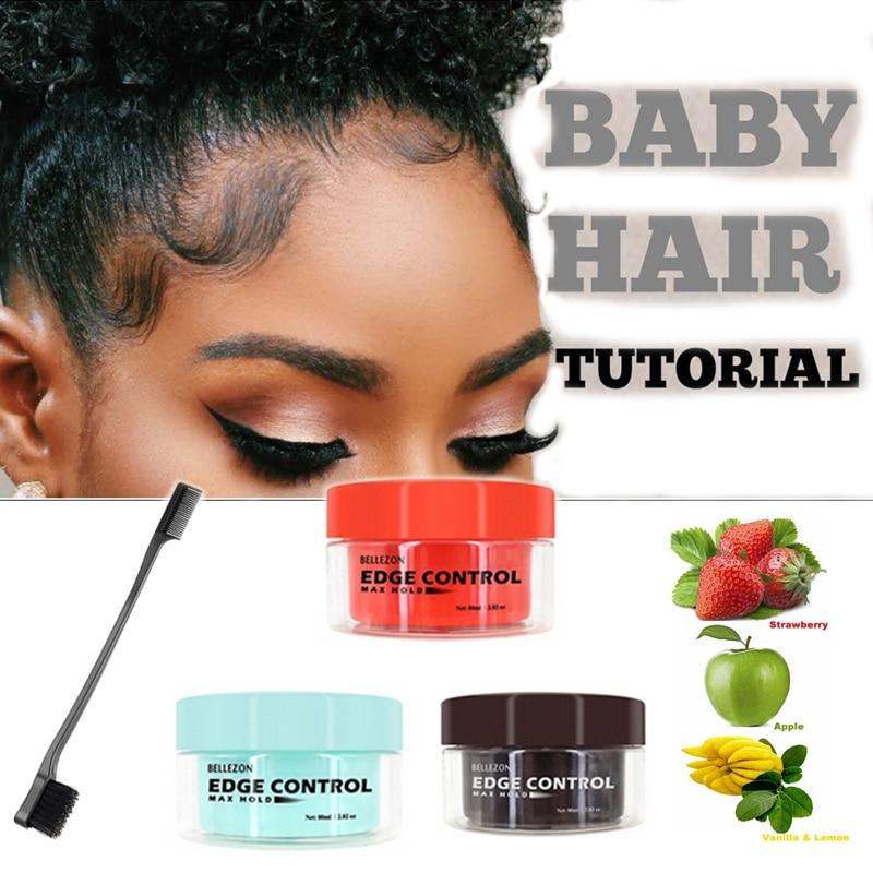 Baby Hair Super Sleek Max Hold Hair Edge Control Cream Gel Long Lasting Waterproof Hair Oil Wax Black Girls Hairstyle 80ml