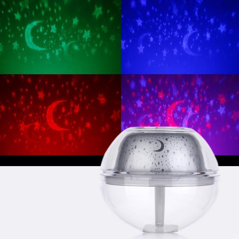500Ml USB Crystal Night Lamp Projector Air Humidifier Desktop Aroma Diffuser Ultrasonic Mist Maker Led Night Light For Home