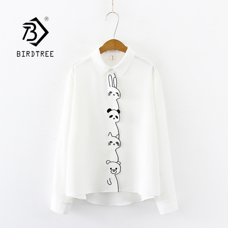 Women Cartoon Rabbit Panda Cat Bear Embroidery Cotton White Shirt Turn-Down Collar Button Up Cute Girls Blouse Feminina Blusa T9