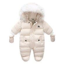 Jackets Romper Newborn-Baby Winter Unisex Snowsuits Baby-Girl Down Hooded Coat Long-Sleeve