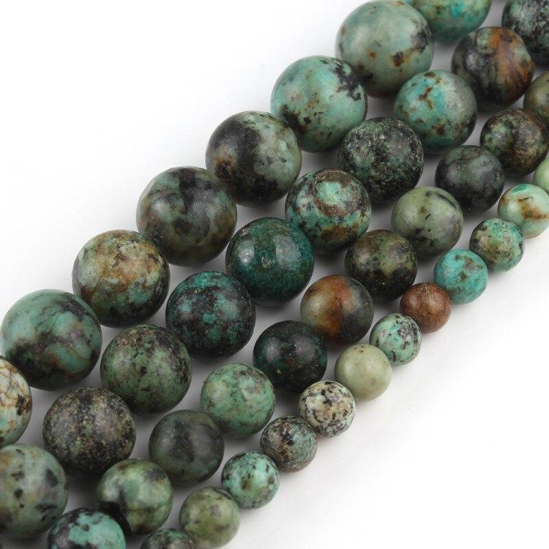Türkis-Edelstein runde lose Perlen 4//6//8 10mm Perlen für Schmuck machen Neu