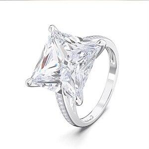 Image 3 - Rainbamabom 925 prata esterlina quadrado criado moissanite diamantes pedra preciosa noivado casamento casal anéis jóias atacado