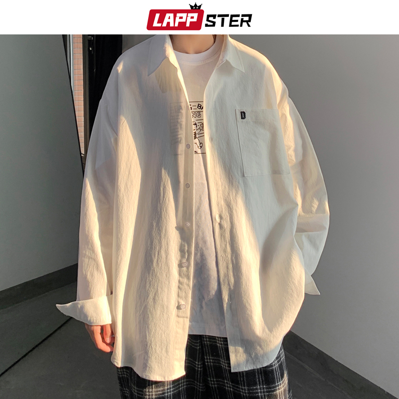 LAPPSTER Mens Korean White Shirt Long Sleeve 2020 Mens Embroidery Hawaiian Black Shirts Male Harajuku Fashions Button Up Shirt