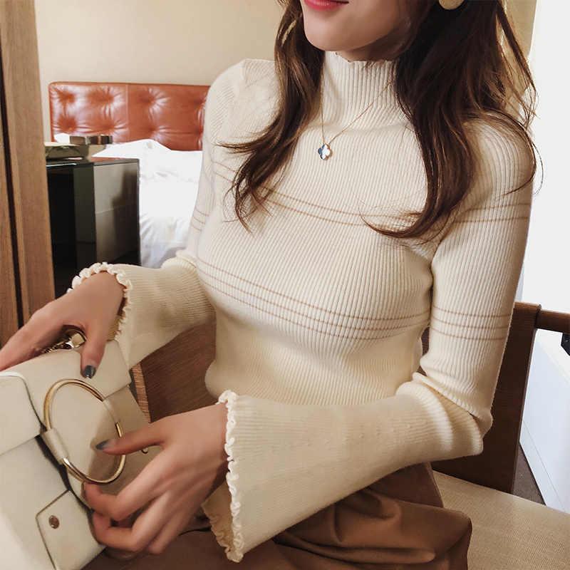 Mishow 스웨터 2018 니트 Bottoming 긴 소매 단색 pullovers 여성 스트라이프 점퍼 Autum 겨울 니트 탑스 MX18D5136
