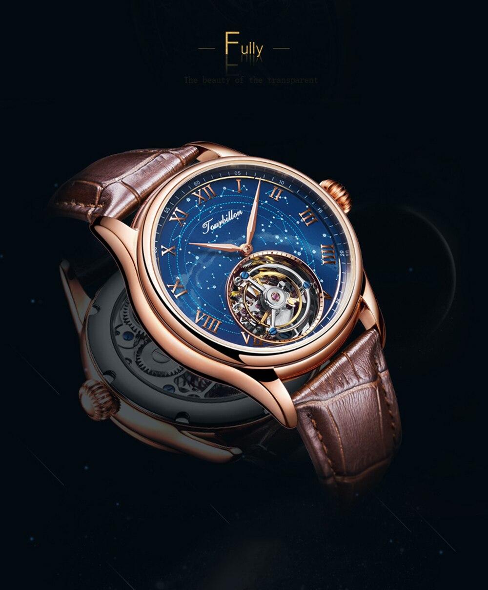 100% Tourbillon GUANQIN Men watches top brand luxury Tourbillon clock men Sapphire Skeleton mechanical watch Relogio Masculino 17