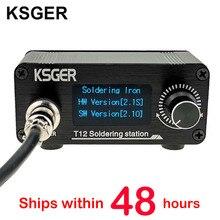 KSGER Estación de soldadura T12 Mini STM32 V2.1S, controlador OLED DIY, mango FX9501, carcasa de aleación de aluminio, puntas de hierro T12, acero inoxidable