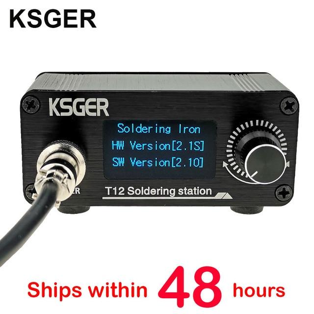 KSGER T12 Soldering Station Mini STM32 V2.1S DIY OLED Controller FX9501 Handle Aluminum Alloy Case T12 Iron Tips Stainless Steel
