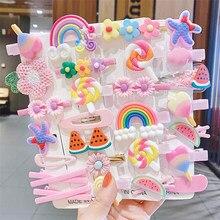 14 pcs/set Girls Cute Cartoon Flower Fruit Rubber Bands Hairpins Lovely Hair Clips Kids Hair Bands Hair Accessories Gift