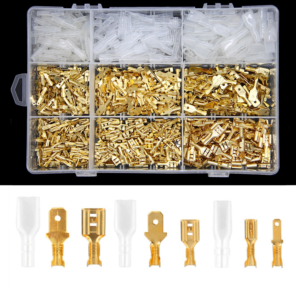 900Pcs/Set Insulated Electrical Wire Crimp Terminals 2.8/4.8/6.3mm Spade Connectors Assortment Kit With Box