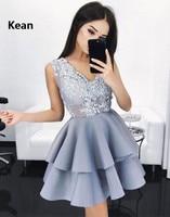 Silver 2019 Homecoming Dresses A line V neck Sleeveless Short Mini Tulle Satin Tiered Elegant Cocktail Dresses