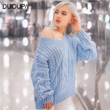 2019 Fashion Ladies Full Sleeve Women Knitting Sweater Solid V-Neck Pullover And Jumper Loose Sweater Autumn And Winter Hot Sale недорого
