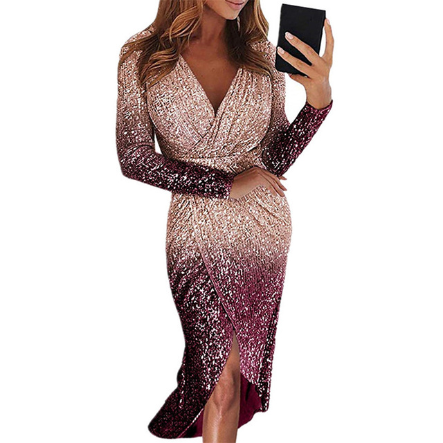 Movokaka Night Dress Women 2021 Long Sexy Sequins Dresses For Women Party Gradient Color Dresses Woman Long Sleeve Women's Dress 2