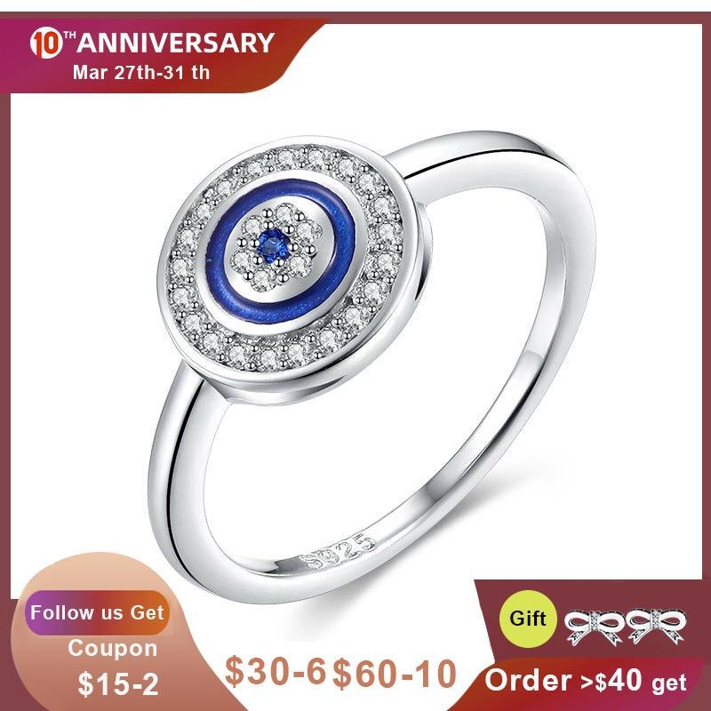 KALETINE Luxury 925 Sterling Silver Ring Lucky Blue Stone Evil Eye Rings For Women Blue Stone Wedding Turkish Mens Jewelry|rings for weddings|women finger ring|finger ring - title=