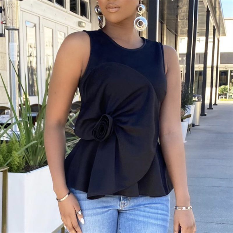 Black Wine Red Blouse O Neck Sleeveless Women Peplum Tops Shirt Big Flower Spliced Ladies Fashion Summer Bluas Female Casual New