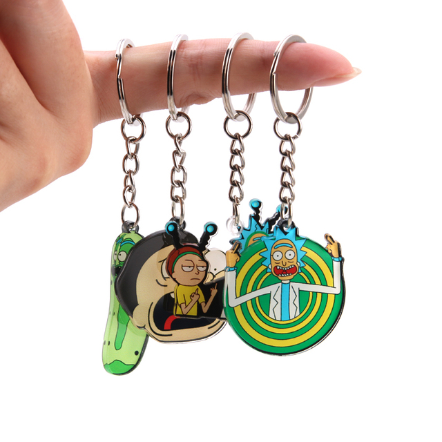 Rick And Morty Keychain Women and Men Key Chain Cute Anime Cartoon Kids Key Ring Gift Porte Clef 2