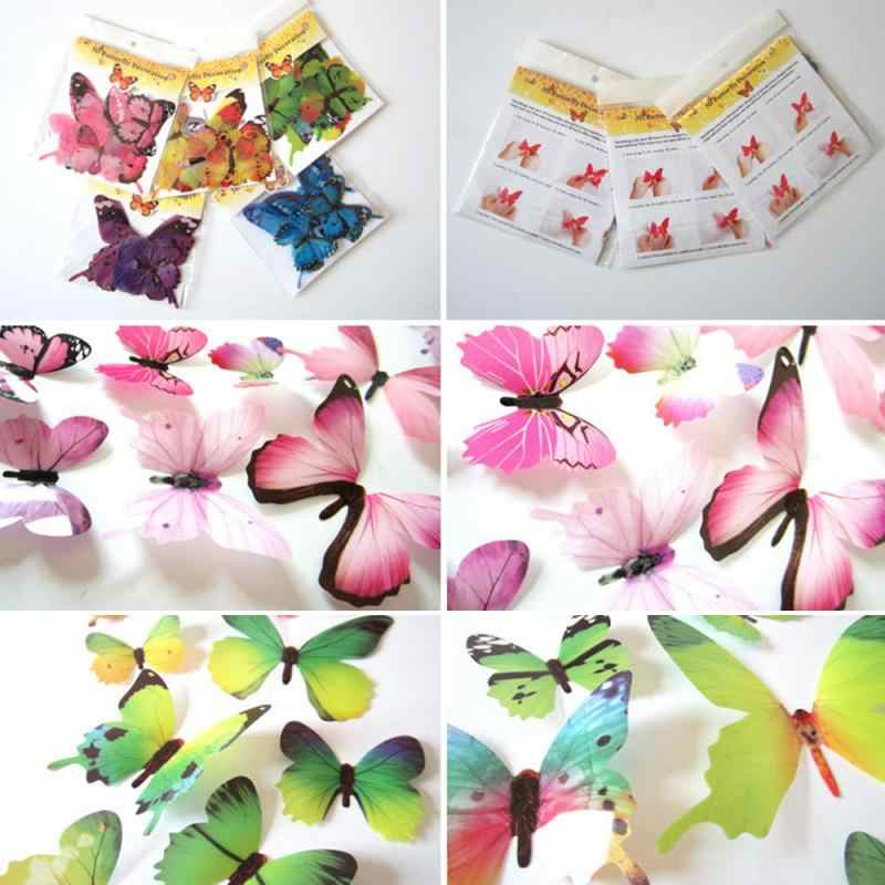 12Pcs Butterflies Wall Sticker 3D Butterfly PVC Wallpaper All Sticker Art Decals Home Decoration Refrigerator Decoration Sticker