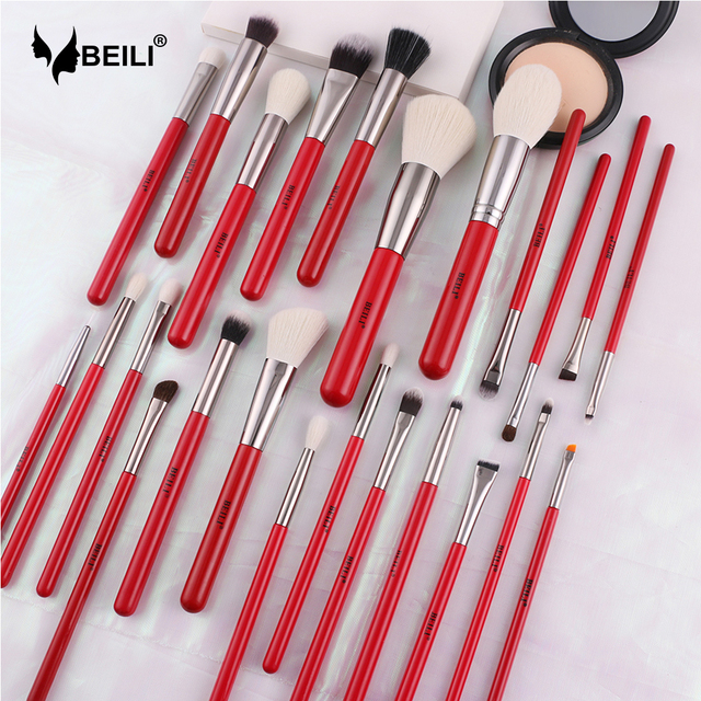 ביילי אדום 24 pcs מקצועי איפור מברשות סט טבעי שיער צלליות אבקת גבה עפעף קרן פנים איפור מברשות