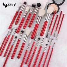 BEILI Red 24 pcs Set di pennelli per trucco professionale capelli naturali ombretto in polvere ciglia sopracciglio fondotinta pennelli per trucco viso