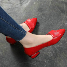 Square Heel Leather Pumps Red Shoes Pointed-Heels Large-Size Fashion Shallow Wild Summer