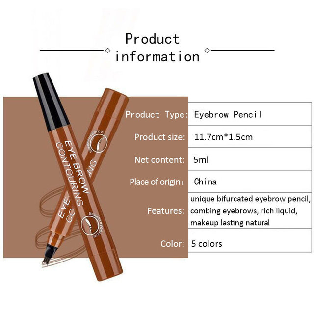 Waterproof Microblading Liquid Eyebrow Pen Fork Tip Eyebrow Tattoo Pencil Long Lasting Fine Sketch Eye Brow Pencil TSLM1 3