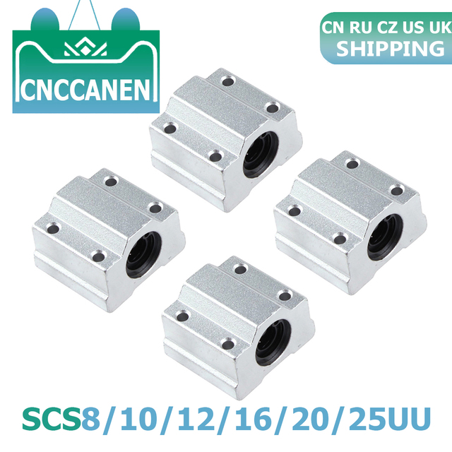 4 Uds Cojinete de bolas de movimiento lineal bloque deslizante casquillo SC8UU SCS8UU SC10UU SCS12UU 16UU 20UU 25UU eje lineal CNC 3D piezas de la impresora