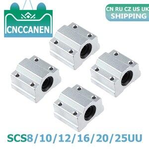 4PCS Linear Motion Ball Bearing Slide Block Bushing SC8UU SCS8UU SC10UU SCS12UU 16UU 20UU 25UU Linear Shaft CNC 3D Printer Parts(China)