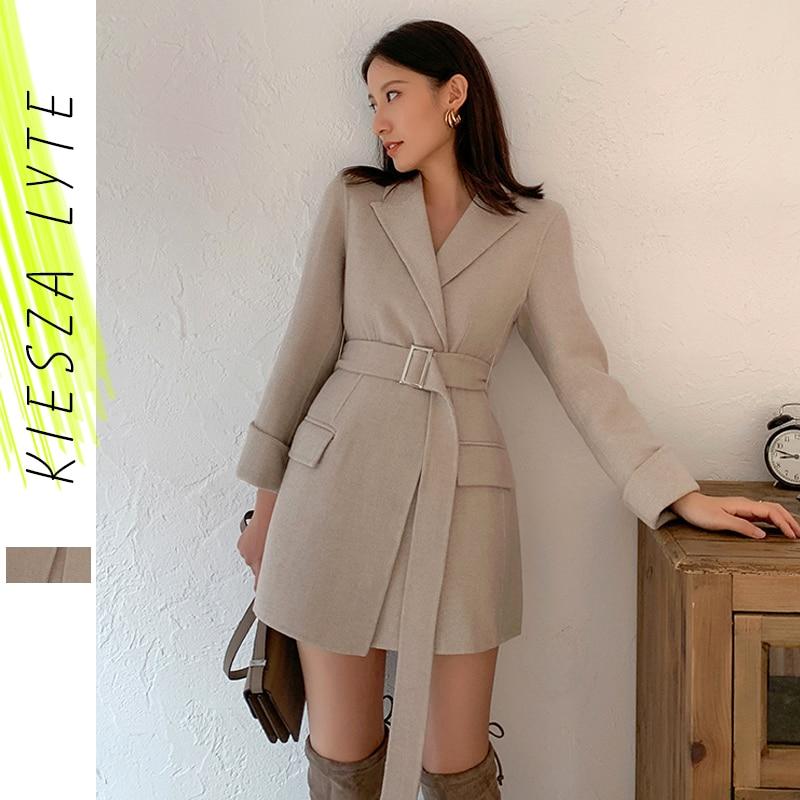 Women Woolen Blazer Jacket 2020 New Fashion Thickening Belt Light Apricot Slim Woolen Coat Female Outerwear