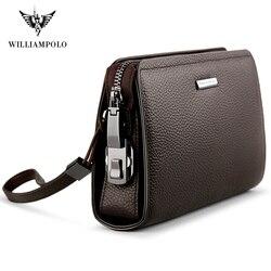 Cartera de mano de cuero genuino para hombre de WILLIAMPOLO con cierre codificado, cartera de negocios para hombre, bolso de mano para hombre PL286