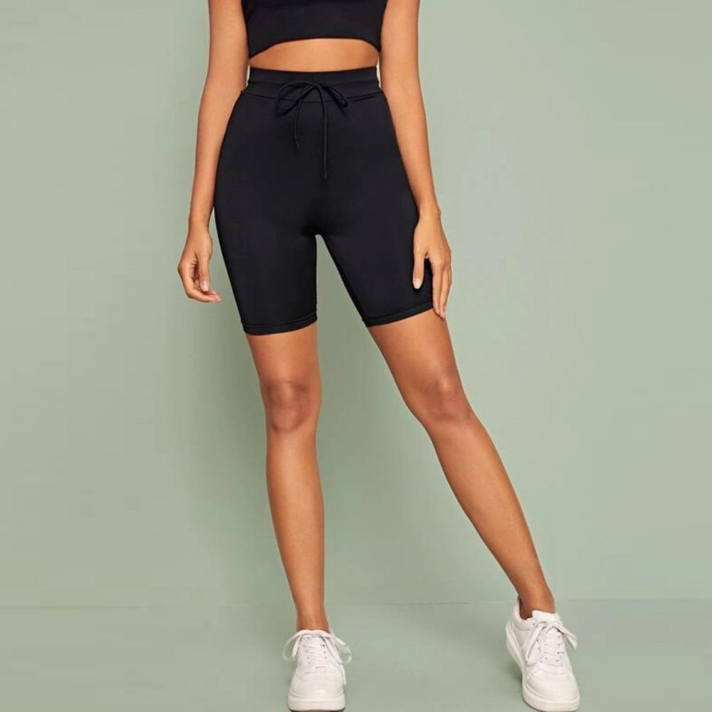 Women Seamless Sport Shorts Black Fitness Slim Yoga Shorts Elastic Gym Short Leggings Black H1
